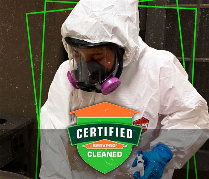 "Image of of person cleaning with ""we are here to help"" text"